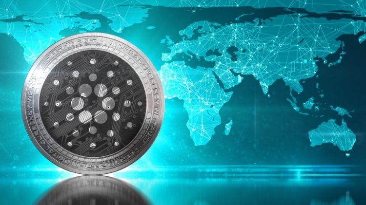 Cardano (ADA) coin against world map