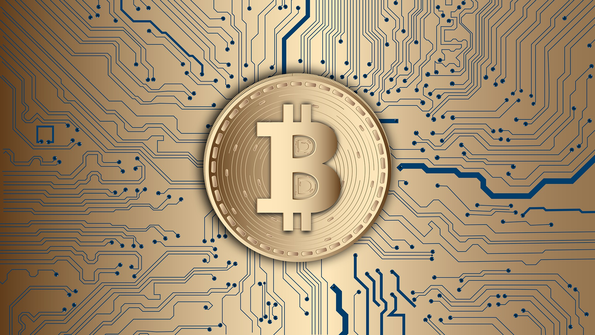 Bitcoin logo with gold background